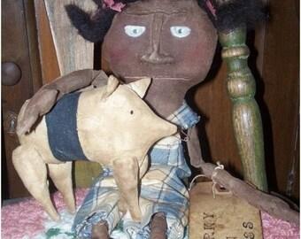 Red,White&BlueSale Primitive doll, folk art, black Porky and Bess Doll