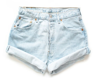"""ALL SIZES """"TURN"""" Vintage Levi high-waisted denim shorts light blue cuffed rolled turn up jeans"""
