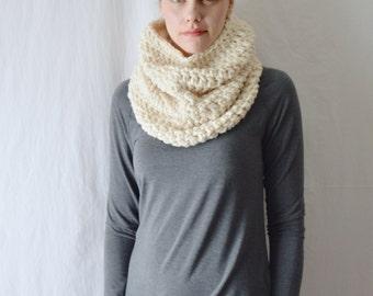 Wool Crochet Cowl Scarf, Acrylic Blend Knit Infinity Scarf