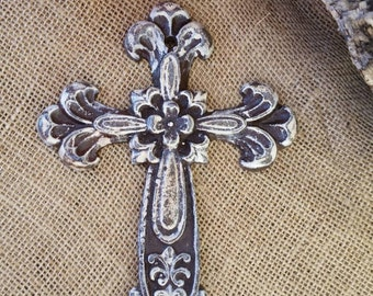 wall cross, iron wall cross, ornate cross, floral cross, shabby chic cross, rustic cross, cross wall decor, painted cross, religious decor
