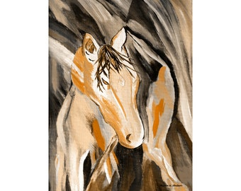 Abstract Horse Painting, Mixed Media, Southwestern Fine Art, Native American Totem Animal, Rustic Home Decor, Wall Hanging, Giclee Print