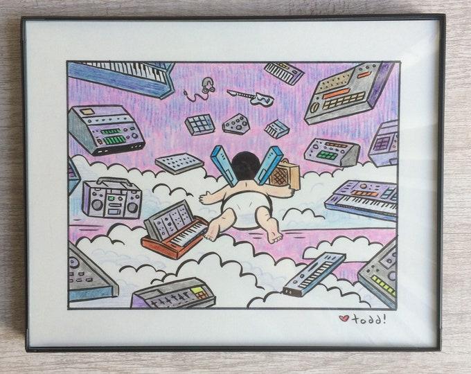 "Bob's Burgers - Gear Heaven, Original Drawing, 8"" x 10"", Art, Pop Culture, Ink and Crayon, Wall Decor, Toddbot, Gene Belcher, TV"