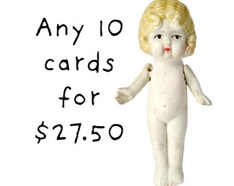 Claudia Bisque Doll Cards Photo Typographic Card Series Your Choice (10)