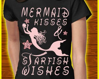 Women's short sleeve t-shirt mermaid and starfish tees women's clothing