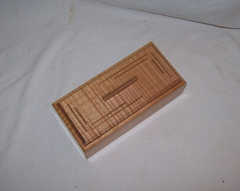 Small wooden box Fiddle Back Maple with Walnut inlay 4x8  Box Handcrafted Keepsake Box