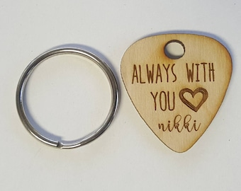 One (1) Custom Always with You and Name Engraved Wooden Guitar Pick Keychain- Wood Gift for Husband, Dad, Boyfriend, Groom, Wife, Girlfriend