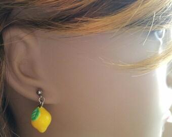 Cute Little Lemon Earrings, Lemonade, Summer is Coming, Lemon Groves, Fresh and Clean. Fruit Earrings, Sweet and Sour, Citrus Earrings