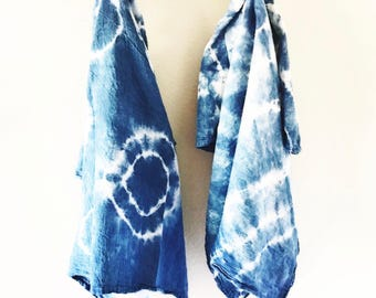 Shibori dyed indigo tea towels