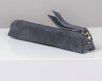 Suede Pencil Case - Grey Pencil Case, Grey Pen Case, Grey Suede Pencil Case, Leather Suede Pencil Case, Graduation Gift, Grey Suede Pen Case