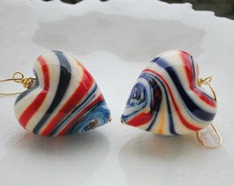 Murano Blown Glass Statement Earrings, Mismatch Earrings