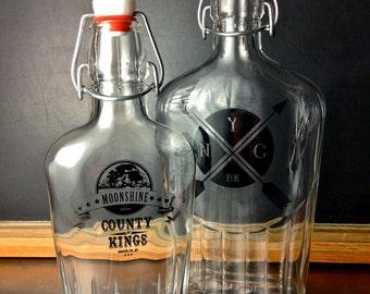 Large NYC/BK Glass Flask
