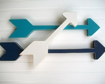 Nursery Arrow Set . Wooden Arrows . Arrow Decor .Tribal Kids . Navy . Turquoise. White . Tribal Nursery . Painted Arrow . Wall Art . Arrows