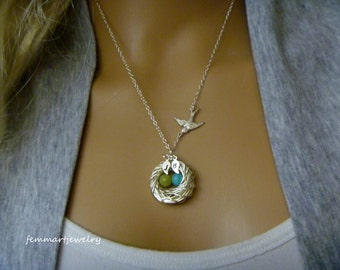Bird Nest Necklace - Birth stone necklace - Family of Birds - Mother's Day Gift - Mother of the Bride - Mommy Necklace - femmart