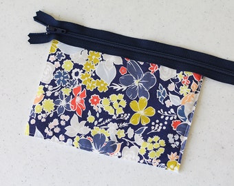 Cash envelope, coin pouch, zipper pouch, change purse, business card id holder, small, pocket wallet, Navy blue, school pouch, kid, teens