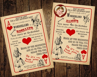 Alice in Wonderland Invitation, Vintage Playing Card Tea Party, Birthday, Baby Shower, Bridal shower, Tea Party - Printable DIY