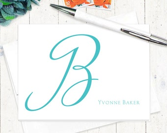 personalized note card set - CURSIVE INITIAL MONOGRAM - set of 8 folded note cards - personalized stationery - choose color