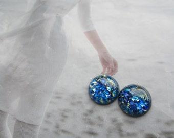 Czech Sea Blue Opal Glass Cabs 15mm 2Pc.