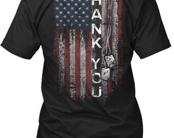 Thank You American Flag Hanes Tagless Tee Tshirt