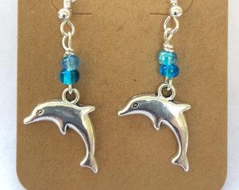 Little Silver Dolphin Earrings