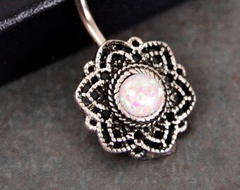 Belly Button Ring White Opal Lacy Filigree Belly Ring Opal Belly Ring Opal Belly Jewelry  Navel Ring