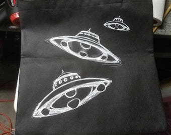 Hand Screen printed Flying Saucer UFO tote bag