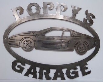 Metal cut FERRARI SIGN exotic car Custom Personalized Man Cave or Garage Sign