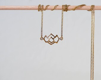 Mountain necklace, mountain pendant, mountain jewelry, pendant necklace, gold necklace, delicate jewelry, gift for her, necklace, mountain