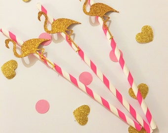 Glitter/ pink Flamingo themed party paper straws birthday baby shower