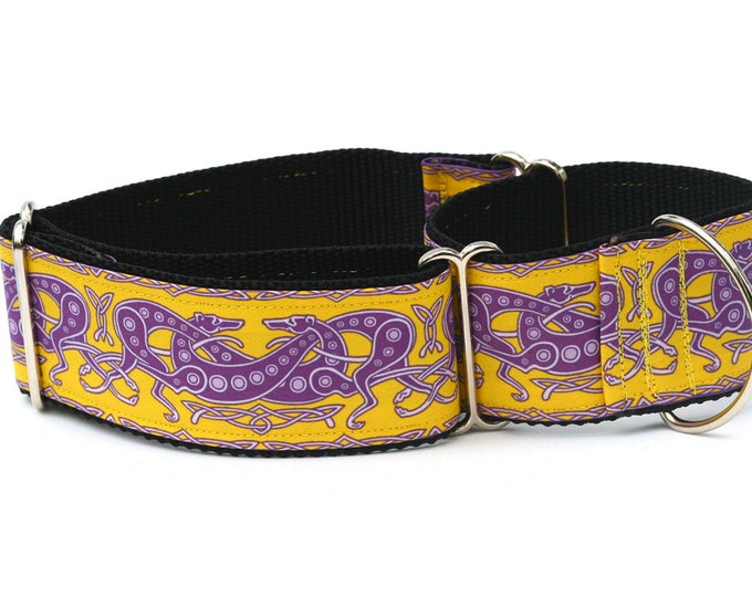 "Greyhound Dog Collar - Celtic Knot in Yellow and Purple - 2"" Martingale Dog Collar (C Yellow/Purple)"