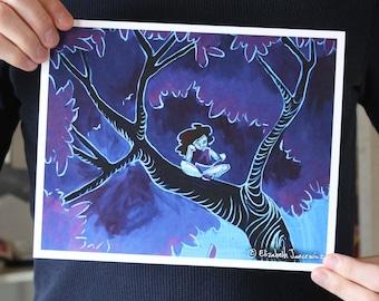 Girl Reading in a Tree; Fine Art Print