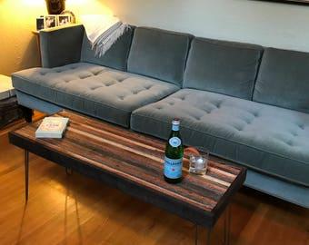 Beautiful striped coffee table - reclaimed wood - hairpin legs - rustic mid century modern