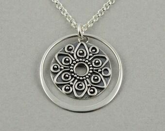 Mandala Necklace Silver Mandala Jewelry yoga jewelry buddhist jewelry zen boho necklace boho jewelry sterling silver