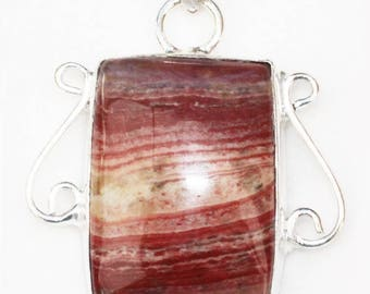 AA+ Red Snakeskin Jasper Rectangular Cabochon set in Sterling Silver with Filigree Design