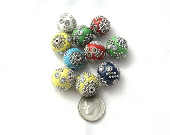 10 Handmade Indonesian Kashmiri Beads 15mm (B310b)