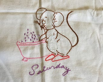 Vintage Embroidered Saturday Bath Mouse Tea Towel