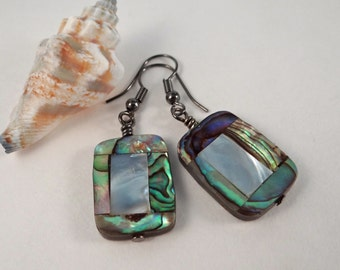 Abalone paua shell earrings Wire wrapped mother of pearl paua shell mosaic gunmetal findings dangling shell earrings beautiful abalone shell