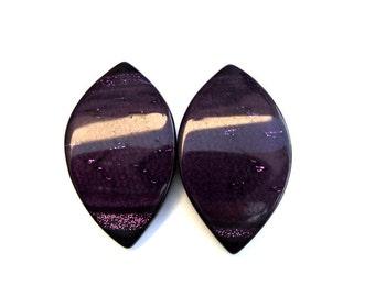 2 Vintage buttons, deep purple unique shape 41mmX24mm