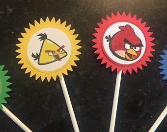 Angry Birds Cupcake Toppers (12), Angry Birds Cake Toppers, Angry Birds Party, Angry Birds Birthday, Angry Birds