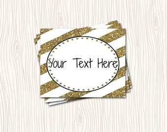 INSTANT DOWNLOAD -  Metallic Gold Stripe Black Folding Food Tent Label Dinner Buffet Cards or Tags Stickers