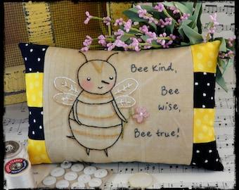 Bee kind hand embroidery Pattern PDF- stitchery wise true