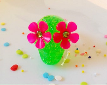 Sugar Skull Ring - Dia Del Los Muertos Neon Green and Glitter with Neon Pink Flowers