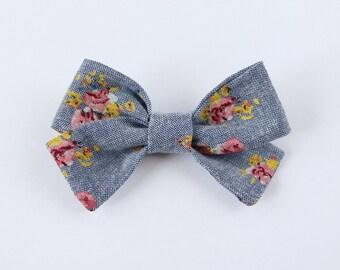 Floral Chambray Criss Cross Hair Bow // Nylon Headband or Clips // Baby Girl Basic Hair Bow // Denim Hair Bow