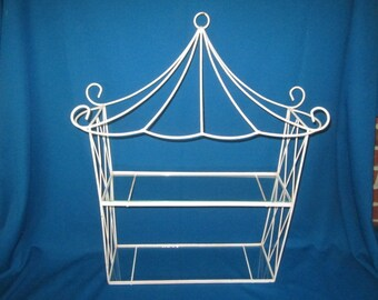 Vintage Two Tiered Glass and White Metal Wall Hanging Shelf