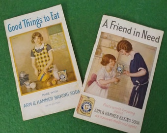 Vintage Promotional Booklets, Arm & Hammer Baking Soda Cures and Cooking Advertising, Medical Advice, Cookbook
