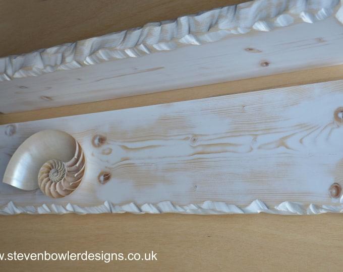 Bespoke Rustic Reclaimed Wood White Coastal Style Bespoke Floating Shelf Driftwood Finish & Decorative Edging with Metal Fixings Supplied