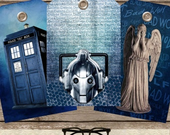 Doctor Who Gift tags, Dr Who Tags, Tardis gift Tags, Dalek Tags, Doctor Who Birthday Party, Birthday Tags, INSTANT DOWNLOAD