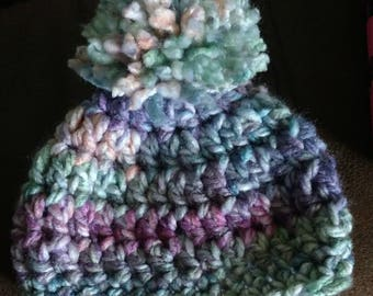 Newborn hat with a pom pom on top, purple baby beanie, crocheted baby hat