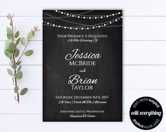 Chalkboard Wedding Invitation Template - String Lights Wedding invitation - Rustic Invitation - Chalkboard Invite - Wedding Invitations