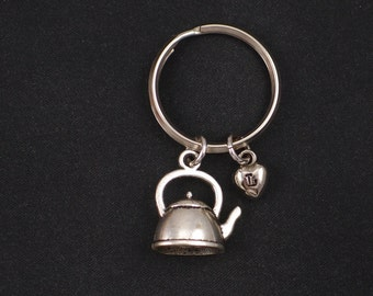 tea kettle keychain, sterling silver filled, initial keychain, silver Tea Time charm keyring, teapot charm, tea lover, best friend gift