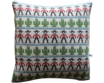 40cm Knitted Lambswool Cowboy and Cactus Cushion